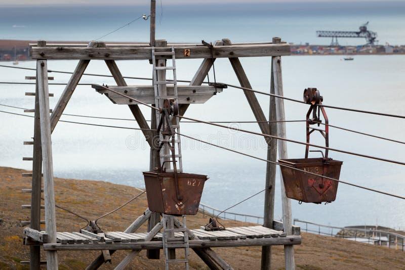 Gammal kabelväg för trans. av kol i Longyearbyen, Svalba royaltyfri fotografi