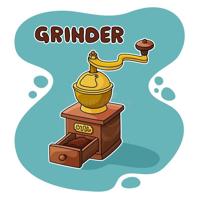 Gammal kaffegrinder stock illustrationer