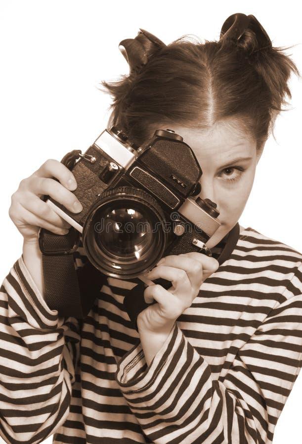 gammal kameraflickahand arkivfoton