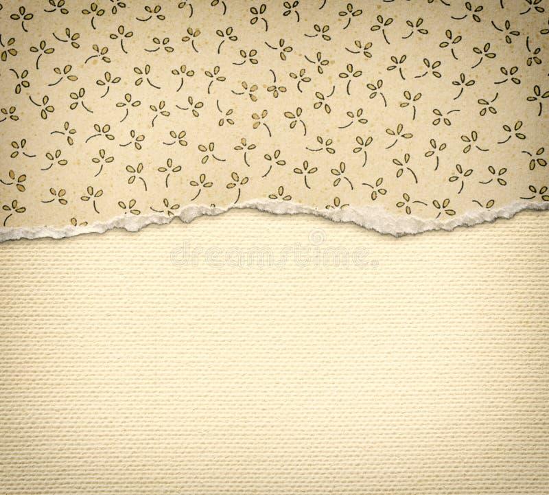 Gammal kanfastexturbakgrund med delikata band mönstrar och sönderrivet papper för tappning med blom- patternCanvastextur med karak fotografering för bildbyråer