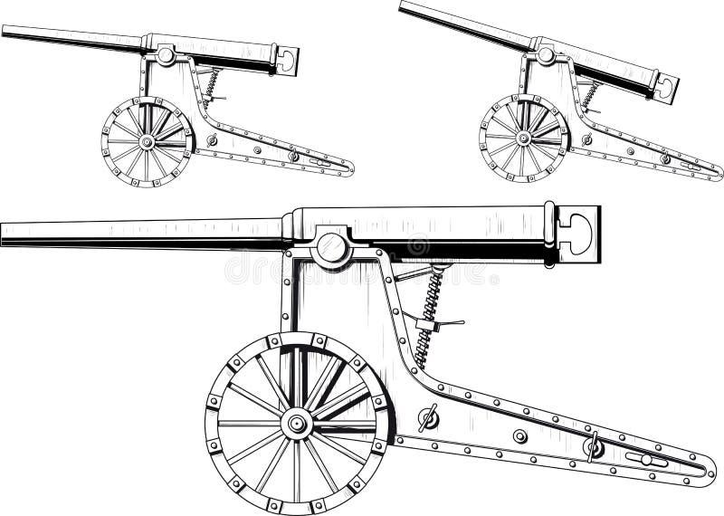 Gammal kanon royaltyfri illustrationer
