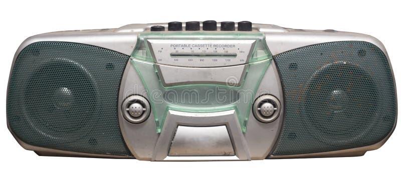 Gammal kassettradio med två retro högtalare arkivfoto