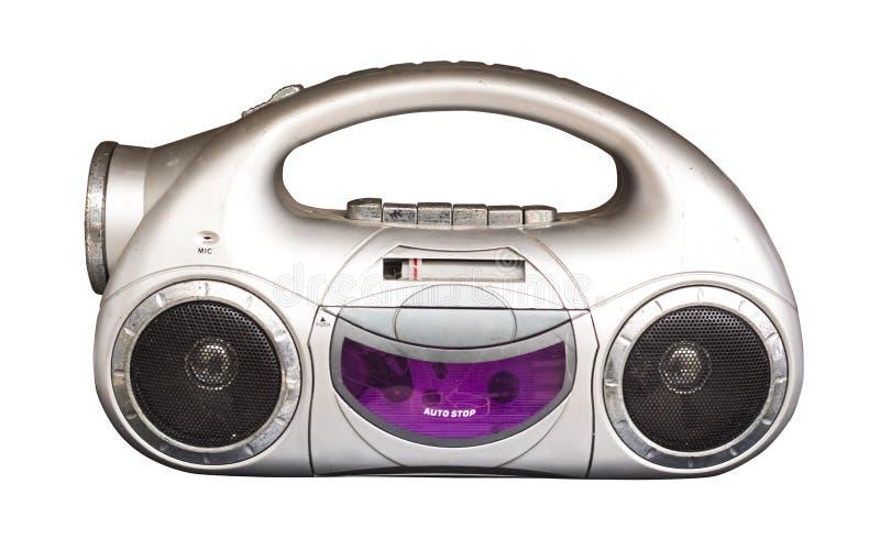 Gammal kassettradio med två retro högtalare fotografering för bildbyråer