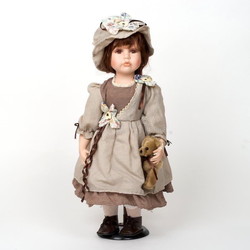 gammal keramisk docka fotografering för bildbyråer