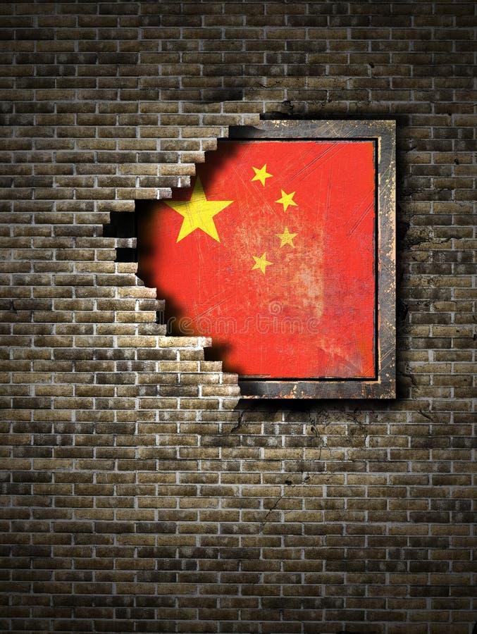 Gammal Kina flagga i tegelstenvägg royaltyfri illustrationer