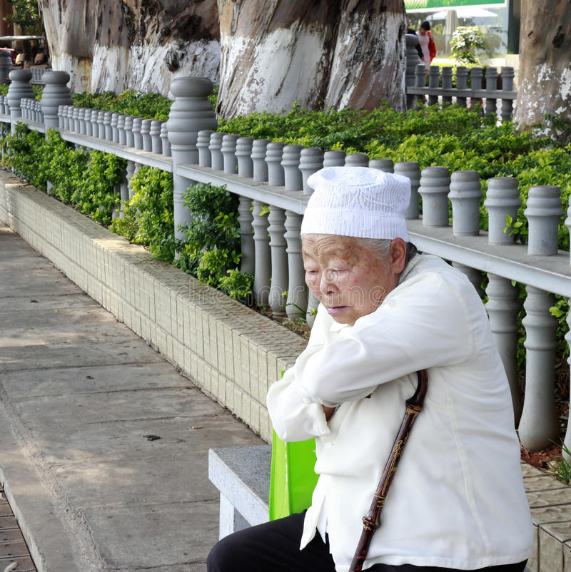 Gammal kinesisk muslimkvinna royaltyfria foton