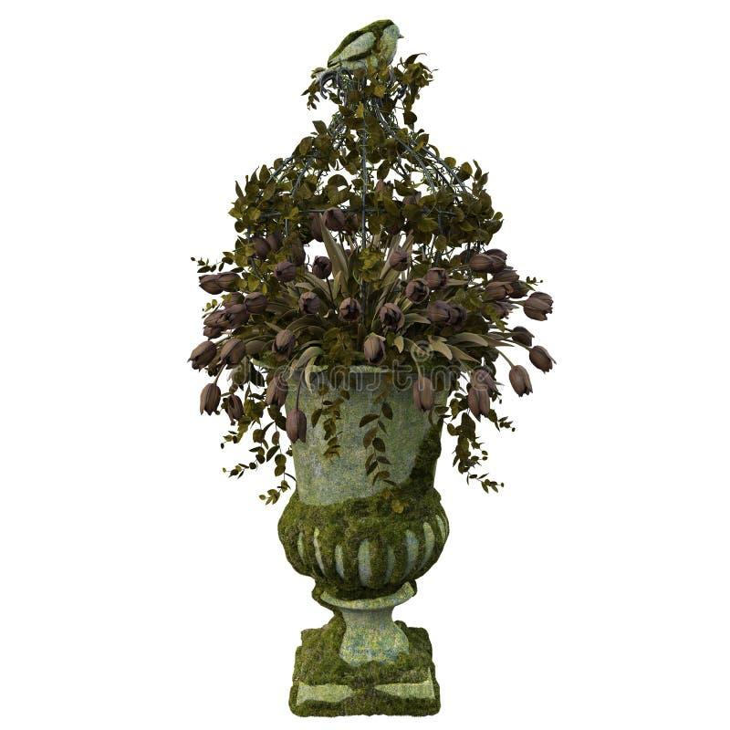 Gammal klassisk vas med tulpan royaltyfria foton