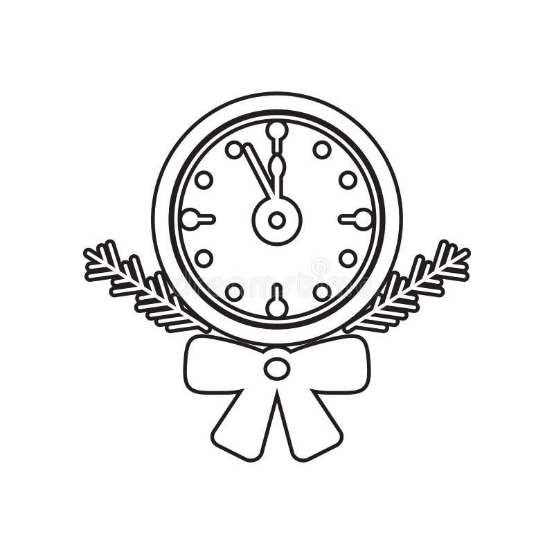 Gammal klocka med symbolen f?r tr?dfilial Best?ndsdel av vintern f?r mobilt begrepp och reng?ringsdukappssymbol ?versikt tunn lin vektor illustrationer