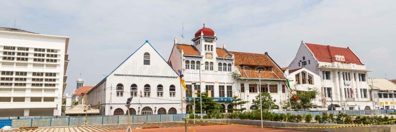 Gammal kolonial byggnad i den gamla staden av Jakarta, Batavia, Java arkivfoton