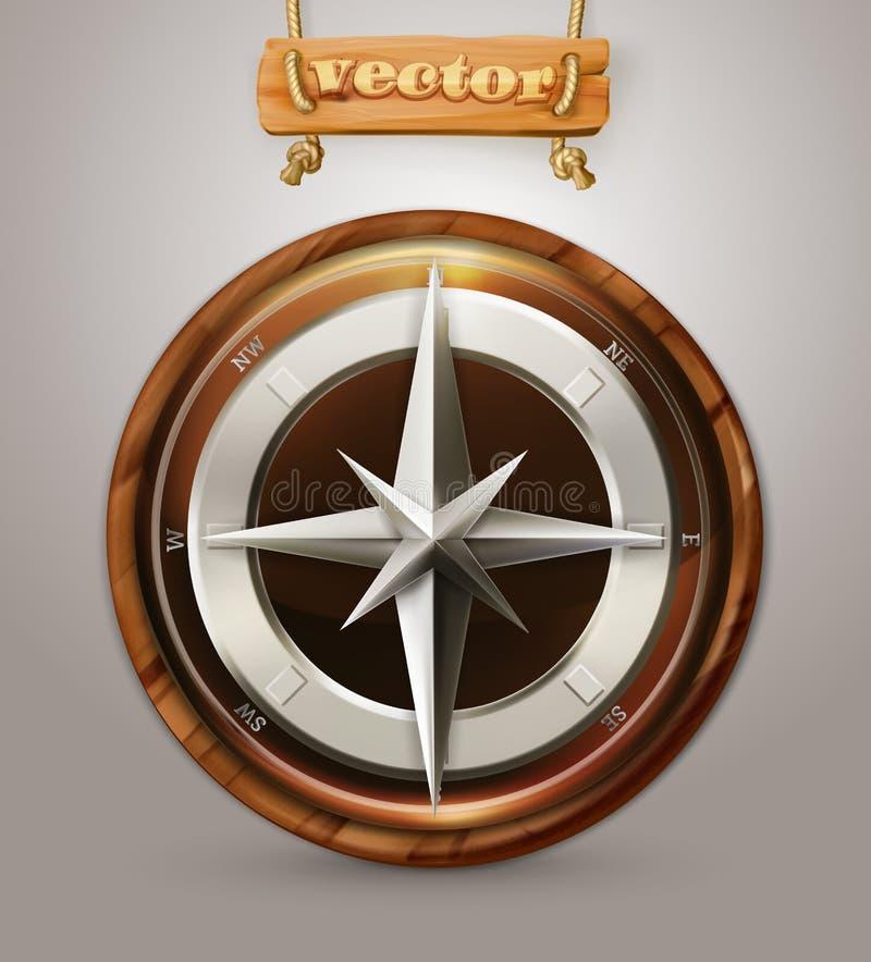 Gammal kompass, vektorsymbol stock illustrationer