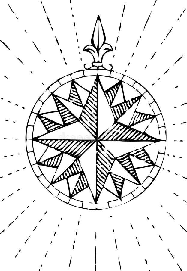 gammal kompassgrunge royaltyfri illustrationer