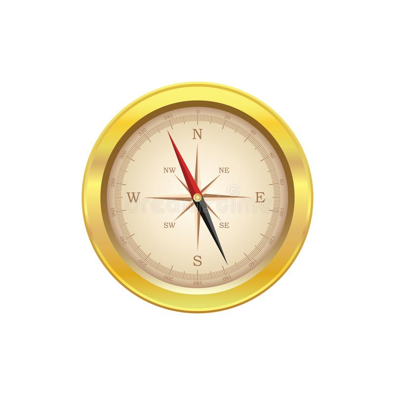 Gammal kompassnavigeringvektor eps10 Realistisk kompass för navigeringguldmetall med pilar royaltyfri illustrationer