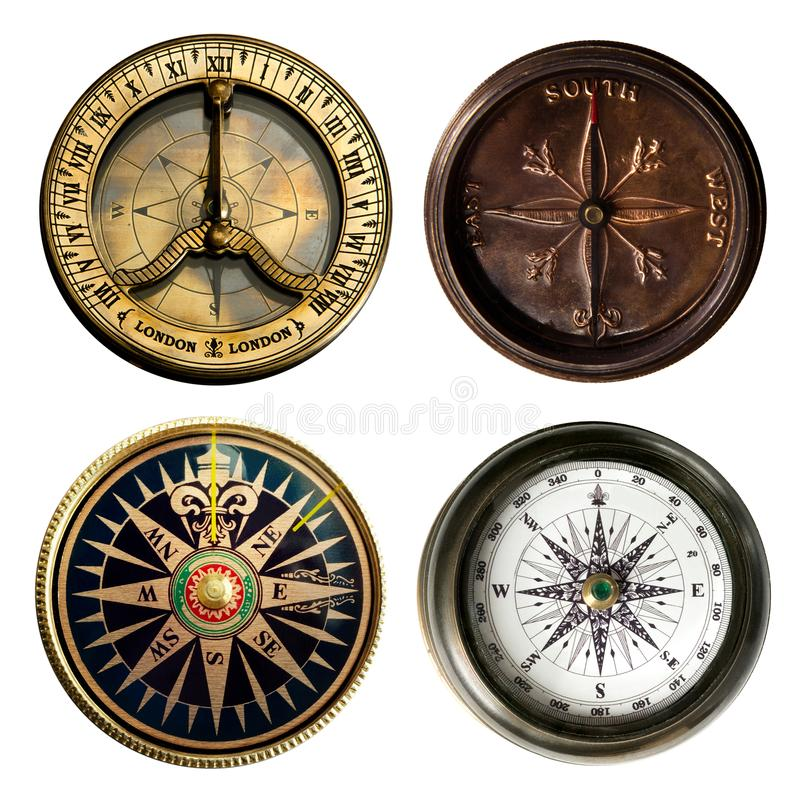 Gammal kompasssamling som isoleras på vit bakgrund royaltyfria bilder