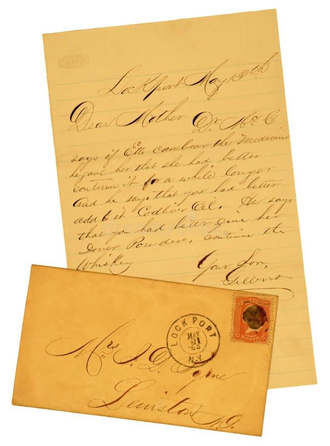 gammal kuvertbokstav 1865 arkivbild