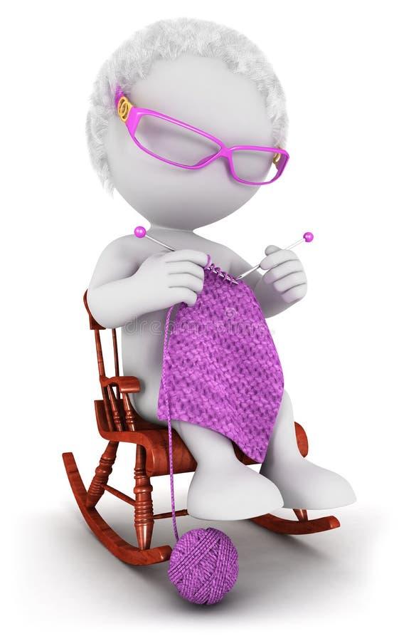 gammal kvinna för vitt folk 3d vektor illustrationer
