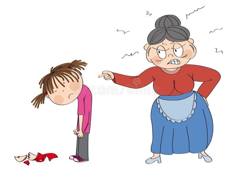 Gammal kvinna, farmor som är ilsken med hennes sondotter som pekar på henne Bruten kopp som l?gger p? golvet Flickan ser ledsen vektor illustrationer