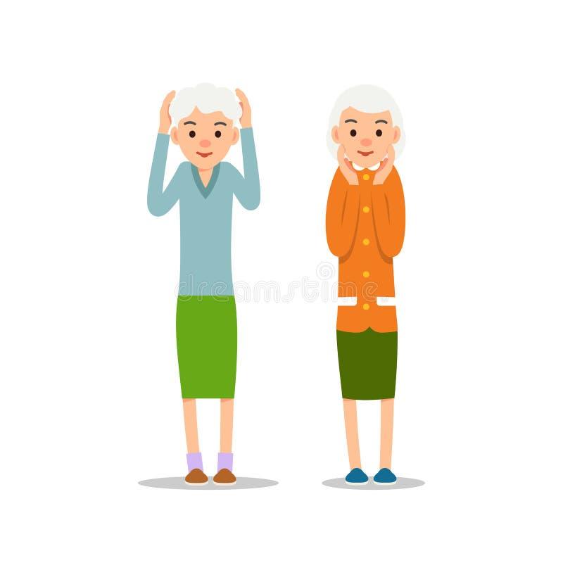 Gammal kvinna Hög ställning två med hans armar upp, hans huvud i händer stock illustrationer
