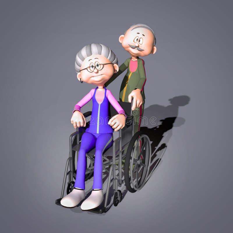 Gammal kvinna i rullstol vektor illustrationer