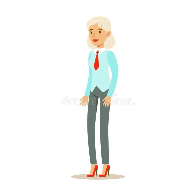 Gammal kvinna i väst med ett band, del av serie för kontorsarbetare av tecknad filmtecken i officiella kläder royaltyfri illustrationer