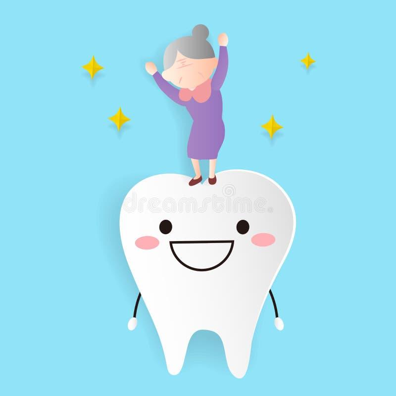 Gammal kvinna med den vård- tanden vektor illustrationer