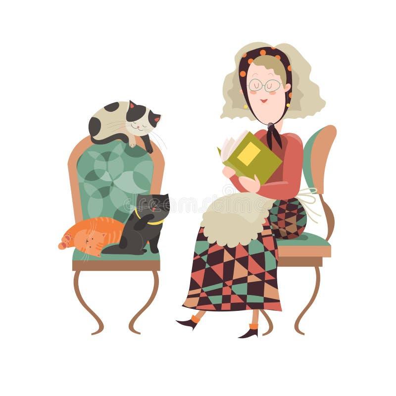 Gammal kvinna med hennes katter stock illustrationer