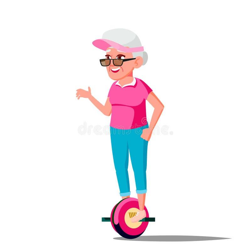 Gammal kvinna på den Hoverboard vektorn Rida på gyroskopsparkcykeln En-hjul elektrisk Själv-balansera sparkcykel Positiv person vektor illustrationer