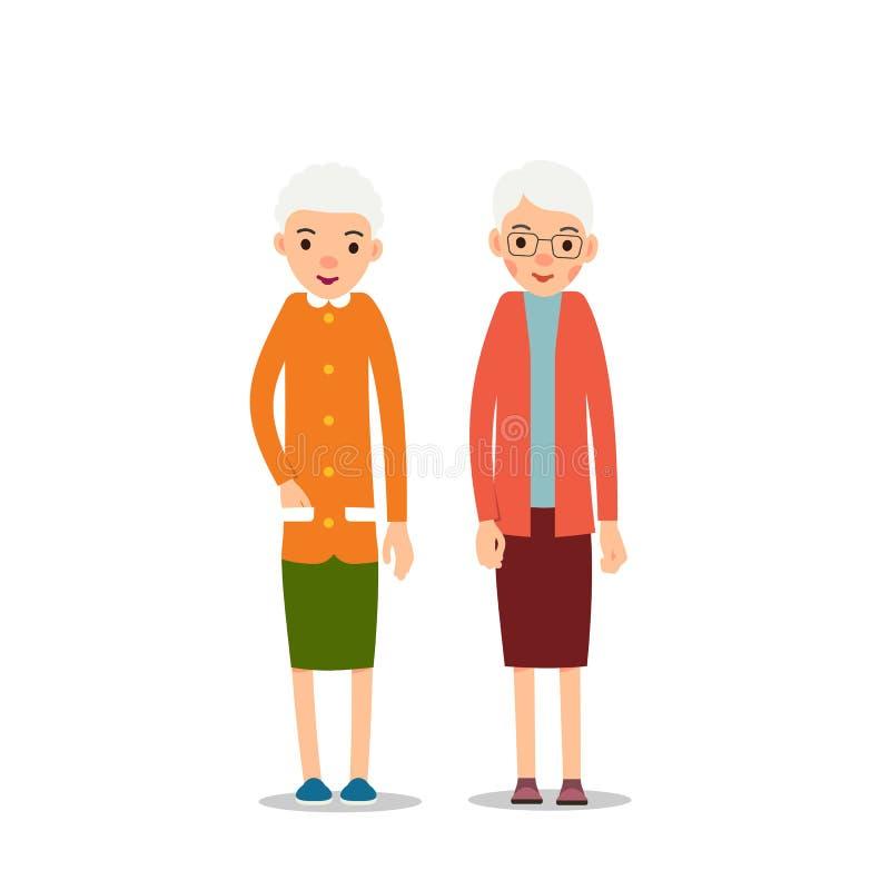 Gammal kvinna Pensionär två, äldre kvinnor står med att sloka händer, ca stock illustrationer