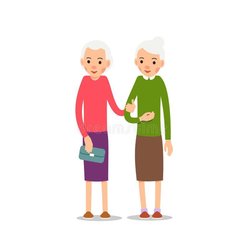 Gammal kvinna Pensionär två, äldre kvinnor står med att sloka händer, ca royaltyfri illustrationer