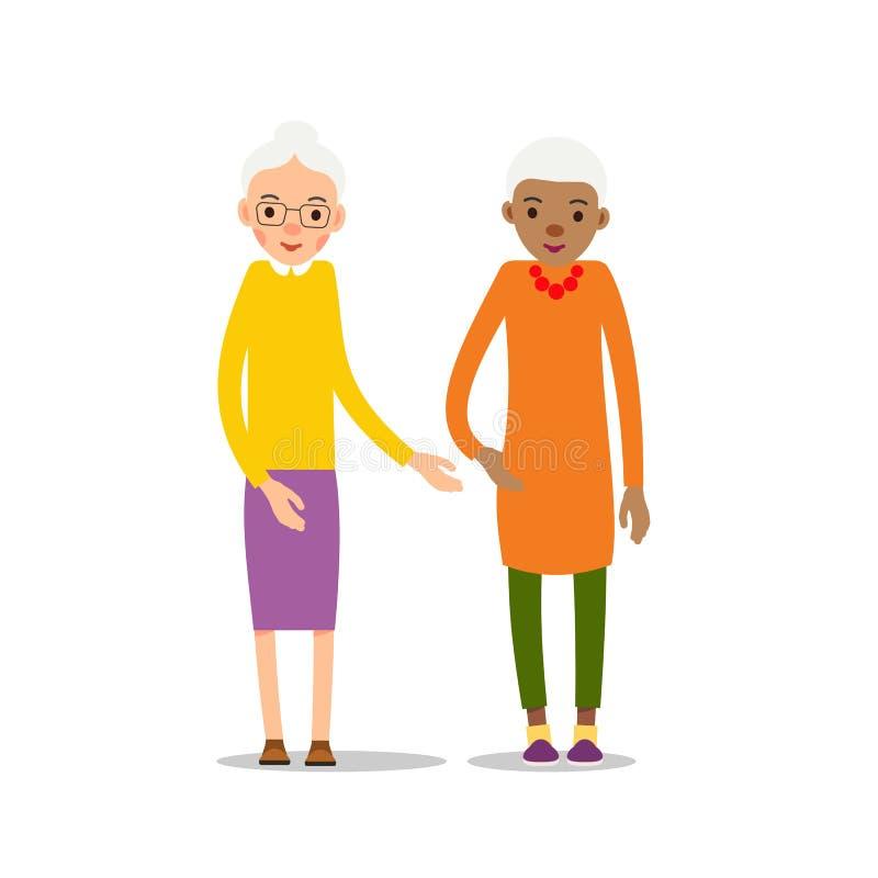 Gammal kvinna Pensionär två - europé- och afrikansk amerikanfläderwome vektor illustrationer