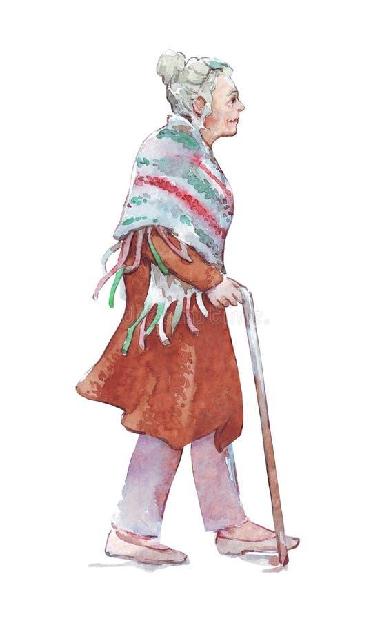 Gammal kvinna som går med en pinne stock illustrationer