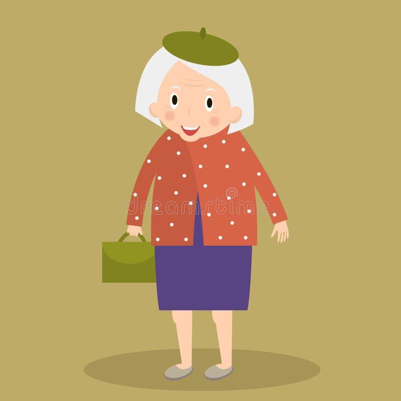 Gammal kvinna som går med påsen farmor Gulligt högt gå för dam också vektor för coreldrawillustration stock illustrationer