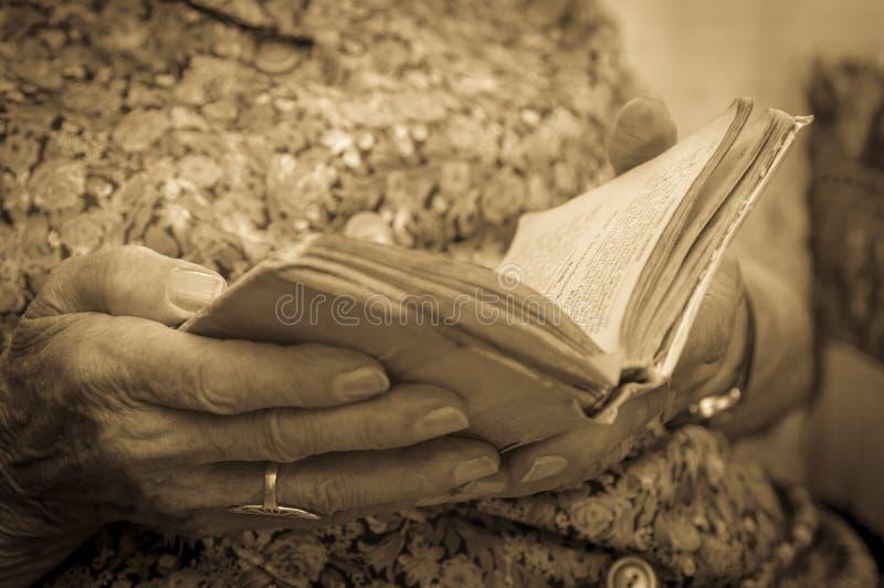 Gammal kvinna som läser en bok royaltyfri bild