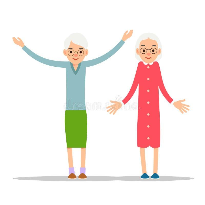 Gammal kvinna Två pensionär, äldre kvinnor en står med händer upp, och stock illustrationer