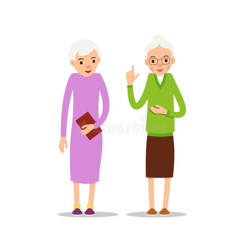 Gammal kvinna Två pensionär, ställning för äldre kvinnor Isolerad illustration stock illustrationer