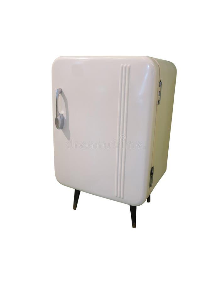Gammal kylskåptappningkyl med kromhandtaget som isoleras på w royaltyfri foto