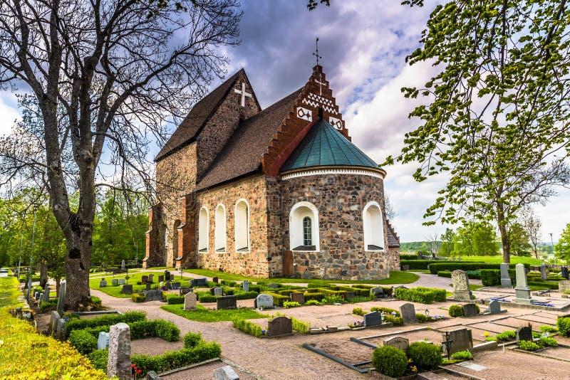 Gammal kyrka av Gamla Uppsala, Sverige arkivbilder