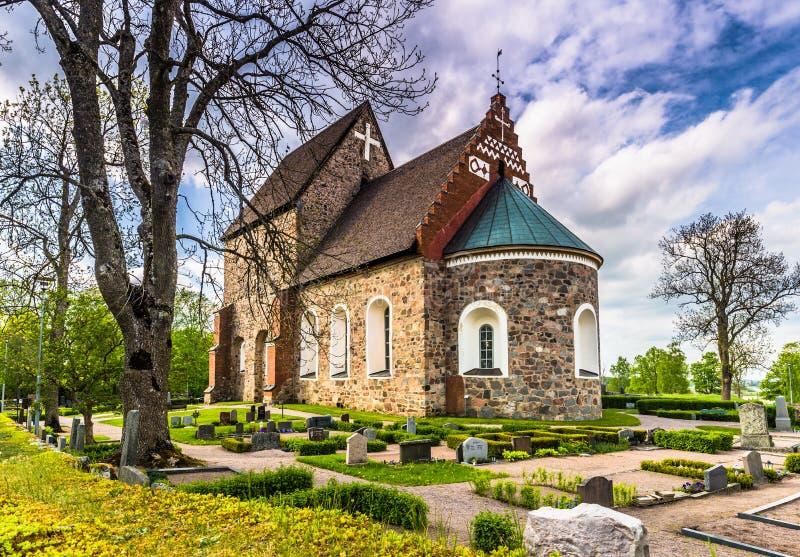 Gammal kyrka av Gamla Uppsala, Sverige royaltyfri foto
