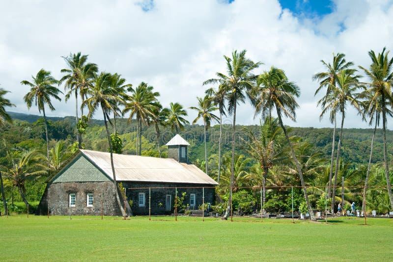 Gammal kyrka på Hana på den Hawaii ön Maui royaltyfri fotografi