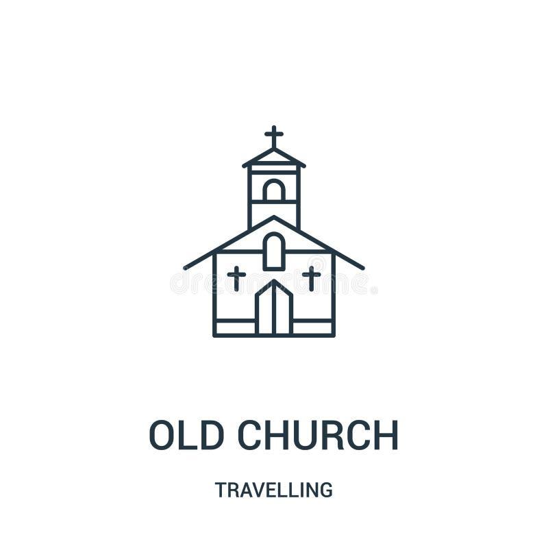 gammal kyrklig symbolsvektor från att resa samlingen Tunn linje gammal kyrklig illustration för översiktssymbolsvektor Linjärt sy royaltyfri illustrationer