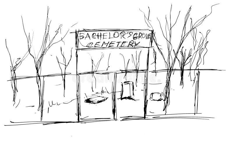 gammal kyrkogård vektor illustrationer