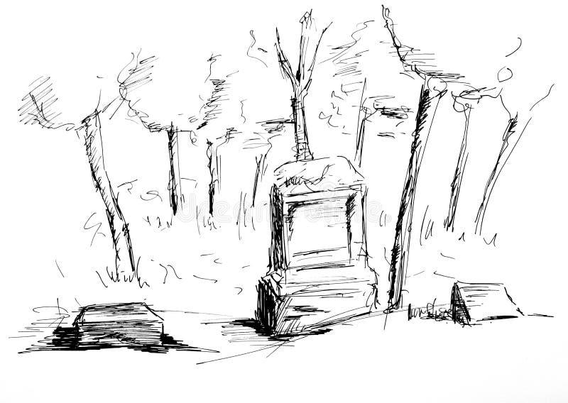 gammal kyrkogård stock illustrationer