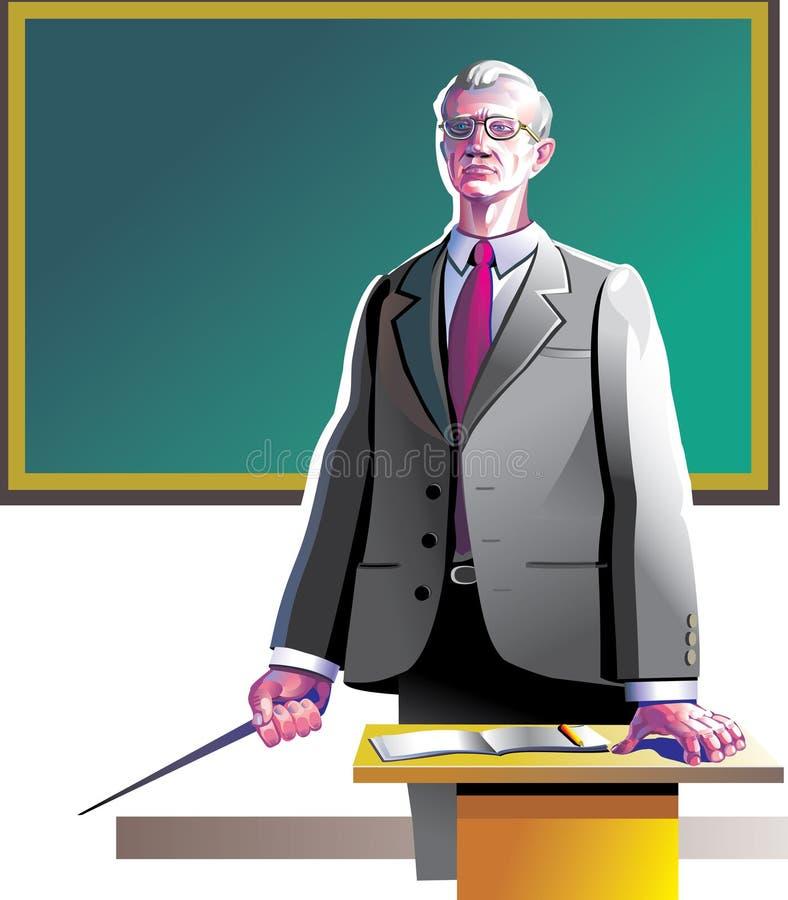 gammal lärare stock illustrationer