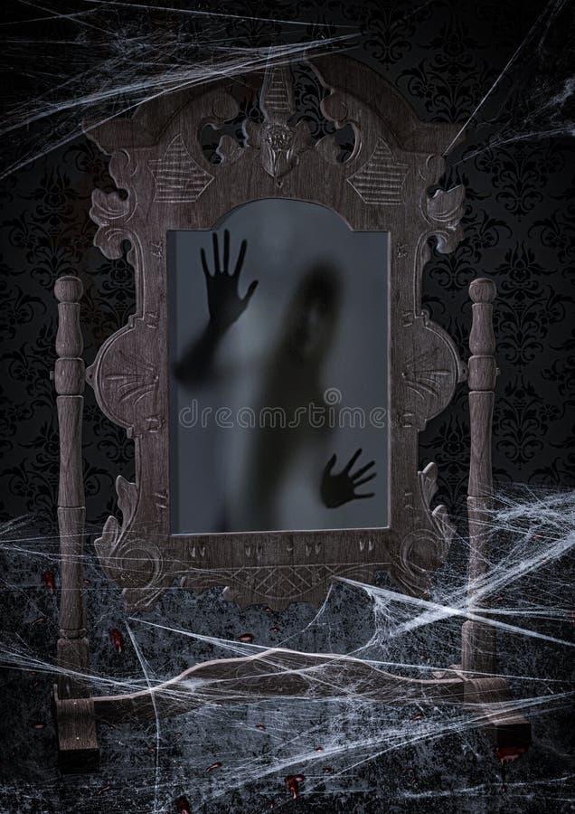 Gammal läskig spegel stock illustrationer