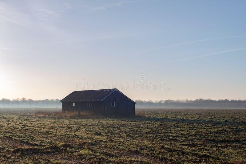Gammal ladugård i dimmig jordbruksmark Achterhoek Gelderland Netherlaen arkivbild