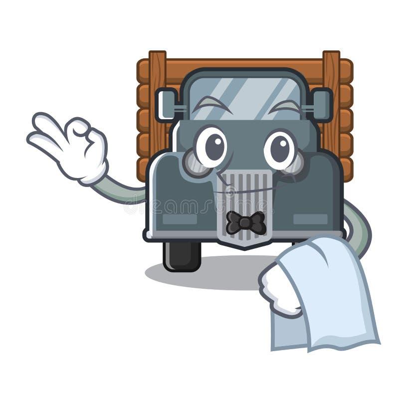 Gammal lastbil för uppassare i maskotformen royaltyfri illustrationer
