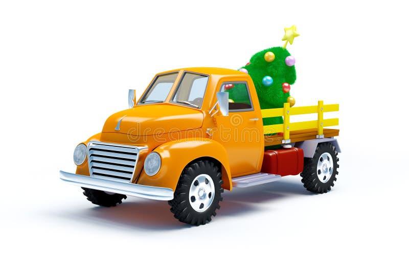Gammal lastbil med julgranen stock illustrationer