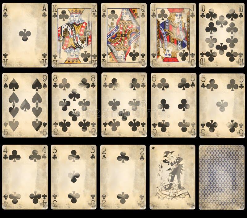 gammal leka poker för kortklubbor fotografering för bildbyråer