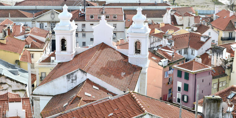 Gammal Lissabon sikt royaltyfria foton