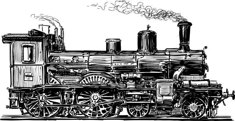 Gammal lokomotiv stock illustrationer
