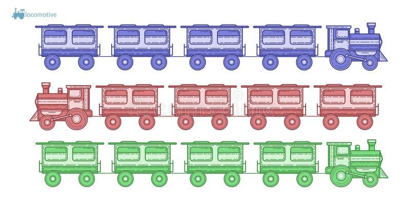 Gammal lokomotiv med vagnar vektor illustrationer